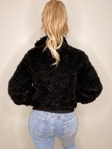 Black teddy bomber jacket - EBALIDA
