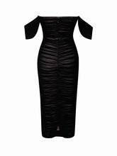 Load image into Gallery viewer, Black Sweetheart draping off shoulder ruched mesh maxi bodycon evening dress - EBALIDA