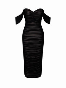 Black Sweetheart draping off shoulder ruched mesh maxi bodycon evening dress - EBALIDA