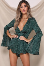 Load image into Gallery viewer, Hunter green polka dot open sleeve v neck romper - EBALIDA