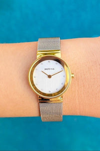 Bering Silver Mesh & Gold dial scratch resistant watch - EBALIDA