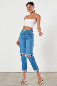 Medium blue color high waist ripped boyfriend jeans