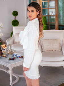 Elegant Sophia White tweed mini dress and cropped jacket set w/ gold buttosn - EBALIDA