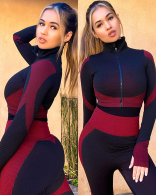 Red/black anti-cellulite body contouring 2 piece - EBALIDA