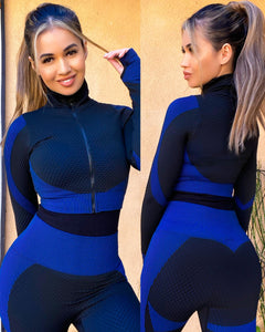 Blue/black anti-cellulite body contouring 2 piece - EBALIDA