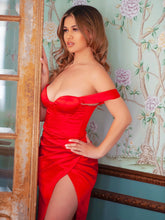 Load image into Gallery viewer, Red sweetheart neckline ruched draping sleeve satin corset dress - EBALIDA