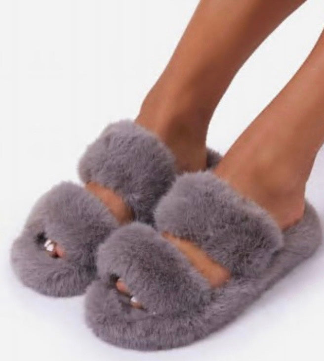 Grey double strap fuzzy faux fur slide slippers - EBALIDA