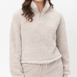 Soft Gray Teddy Bear sherpa 2 piece lounge set - EBALIDA