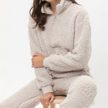 Load image into Gallery viewer, Soft Gray Teddy Bear sherpa 2 piece lounge set - EBALIDA