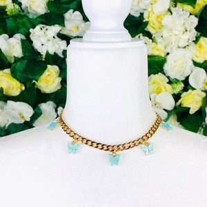 Light blue Butterfly Gold Chain Necklace - EBALIDA