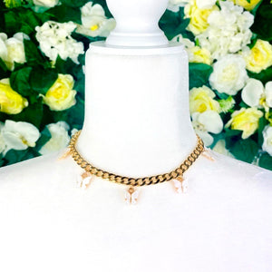 White Butterfly Gold Chain Necklace - EBALIDA