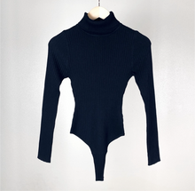 Load image into Gallery viewer, Black Rib knit turtle neck long sleeve bodysuit - Shop Glam Fairy