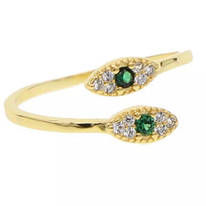 Evil Eye Green & Gold cubic zirconia double ring - Shop Glam Fairy