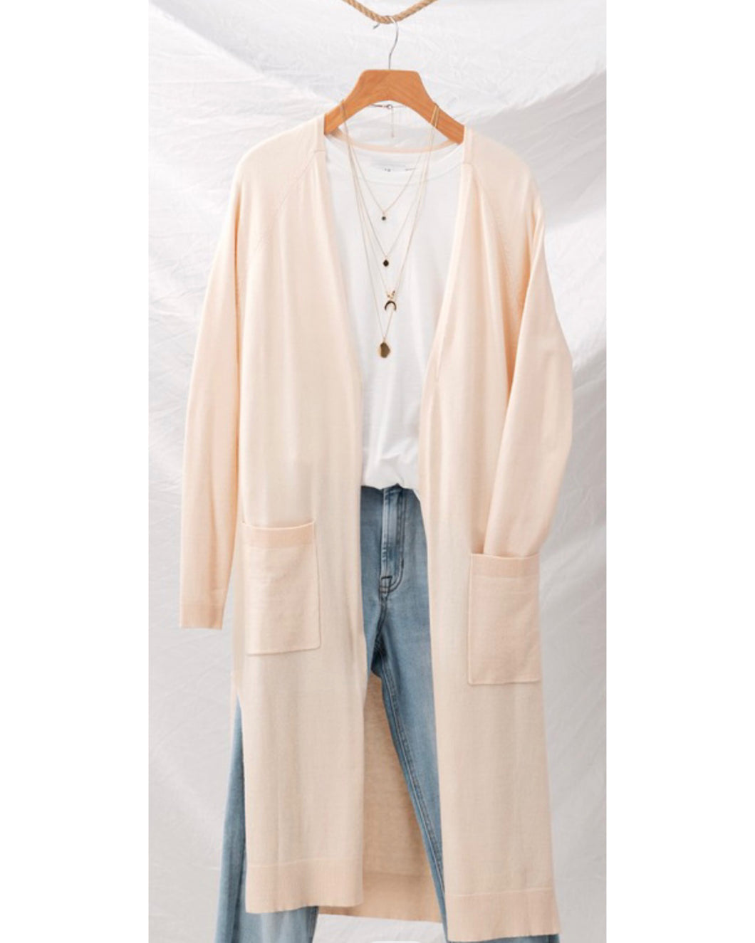 Long Cardigan with pockets Butter - EBALIDA
