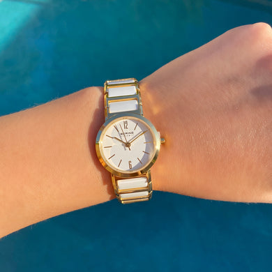 Bering Two-Tone white and gold 30226-751 stainless steel and ceramic watch - Shop Glam Fairy