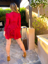 Load image into Gallery viewer, Carmine red dress w/ ruched torso and ruffles, puffed sleeves - EBALIDA