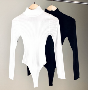 Black Rib knit turtle neck long sleeve bodysuit - EBALIDA