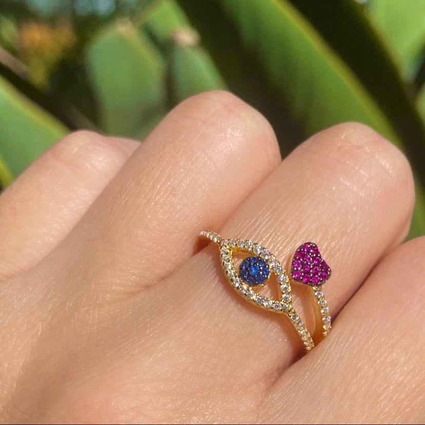 925 Sterling Silver gold evil eye heart Cubic Zirconia ring - Shop Glam Fairy