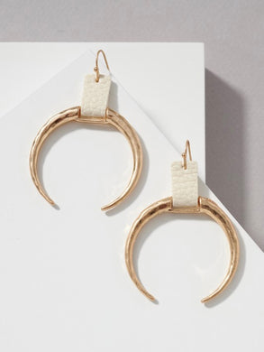 Luca hammered gold crescent horn drop earrings - Shop Glam Fairy