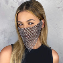 Load image into Gallery viewer, Black w/ Silver Rhinestone long Face Mask - Shop Glam Fairy