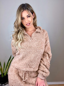 Soft Camel Teddy Bear sherpa 2 piece lounge set - Shop Glam Fairy