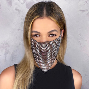 Black w/ Silver Rhinestone long Face Mask - Shop Glam Fairy
