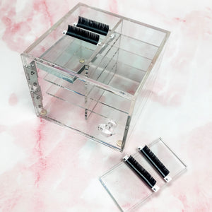 Acrylic Eyelash Extension organizer with 8 slots and 8 plate trays included! - Shop Glam Fairy