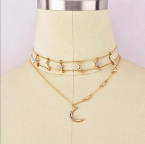 Salem Bohemian Gold Multilayered Moon & Star necklace - EBALIDA