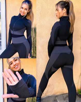 Grey/Black anti-cellulite body contouring 2 piece - Shop Glam Fairy