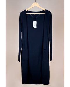 Long Cardigan with pockets Black - EBALIDA