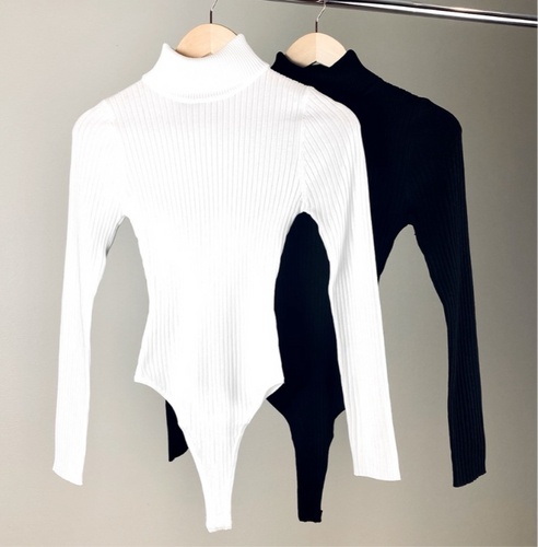 Ivory Rib Knit Turtle Neck Long Sleeve Bodysuit - EBALIDA