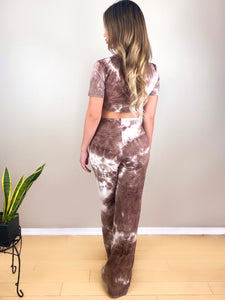 Stay Rad and Stay Bad Brown Mocha brown tie dye crop top wide leg matching set - EBALIDA
