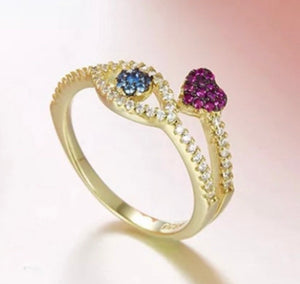 925 Sterling Silver gold evil eye heart Cubic Zirconia ring - EBALIDA