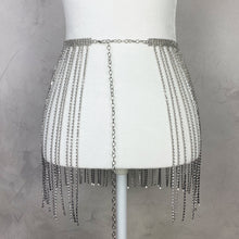 Load image into Gallery viewer, Silver Festival Rhinestone Tassel skirt - Shop Glam Fairy