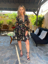 Load image into Gallery viewer, Blair black floral print flowy v neck chiffon cut up tie up backless dress - EBALIDA