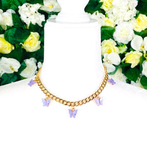 Purple Butterfly Gold Chain Necklace - EBALIDA