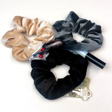 Load image into Gallery viewer, 3 pack velvet secret zipper pocket scrunchies black, beige, grey - EBALIDA