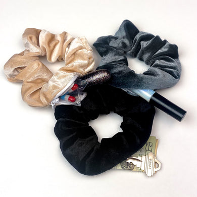 3 pack velvet secret zipper pocket scrunchies black, beige, grey - EBALIDA