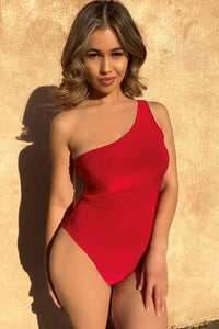 Red One Shoulder Strap Bodysuit - EBALIDA