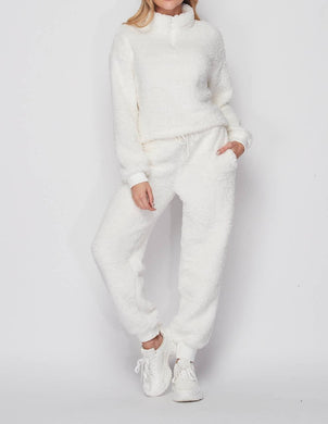 Ivory white teddy bear 2 piece loungewear - EBALIDA
