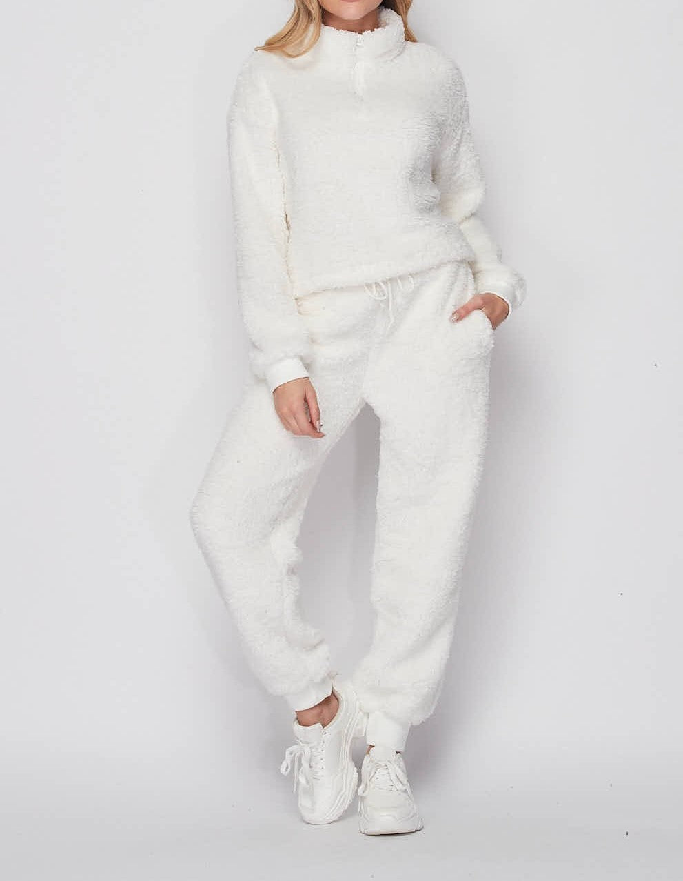 Ivory white teddy bear 2 piece loungewear