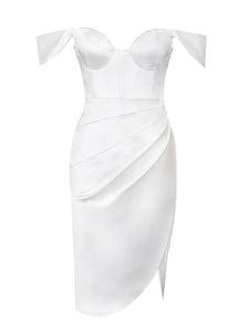 White sweetheart neckline ruched draping sleeve satin corset dress - EBALIDA