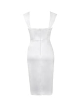 Load image into Gallery viewer, White sweetheart neckline ruched draping sleeve satin corset dress - EBALIDA