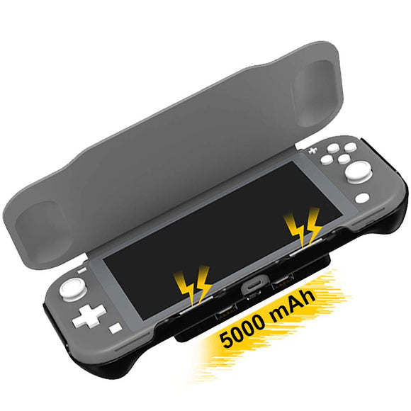 Kinvoca Flip Cover & Screen Protector for Nintendo Switch Lite with Detachable 5000mAh Battery | Shock-Absorption Protective Case | Portable Backup Charger Station