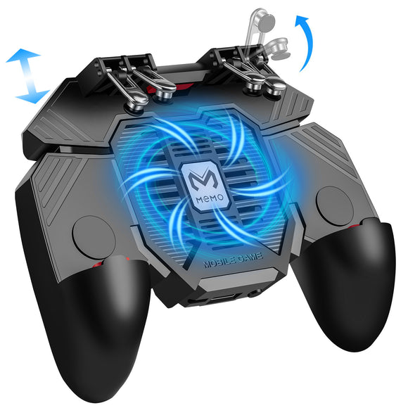 KINVOCA Mobile Game Controller | L1R1 L2R2 6 Figers Triggers | w/Cooling Fan & 1200mAh Power Bank | for 4.7-6.5