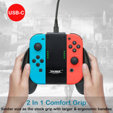 Kinvoca Joy Con Charging Grip | Ergo Comfort Joycon Grip | Portable Joycon Charger Dock with 79in USB-C Cable and Battery Indicators| High Speed Charge While Play