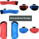 Kinvoca Joy Con Controller Replacement for Nintendo Switch with Wrist Straps, Red & Blue