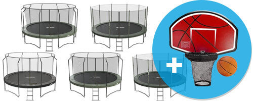 Free basketball hoop with a purchase of 14ft and 15ft trampoline packages
