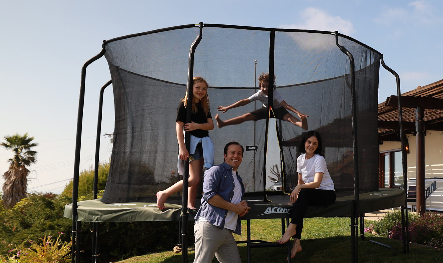family and the trampoline