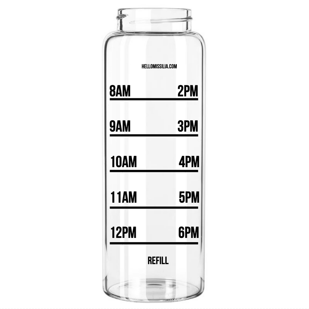 HelloMissilia #HUSTLE Wide Mouth Water Bottle, 32oz | Time Marked Measurements